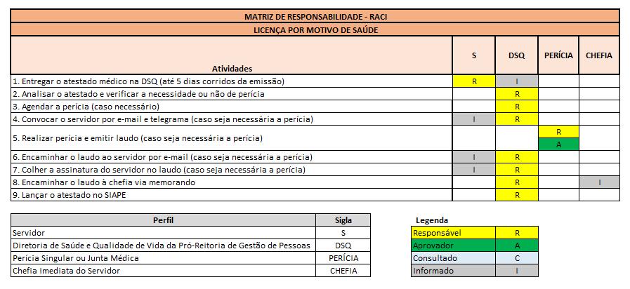 Matriz RACI Licença Saúde