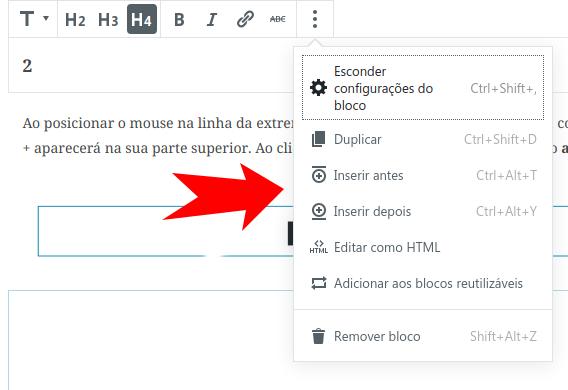 Botão de adição de bloco localizado no menu de contexto situado acima de um  outro bloco.