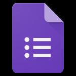 Logotipo Google Forms sendo um documento com três itens em uma lista