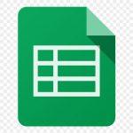 Logotipo Google Forms sendo uma folha com uma tabela no centro