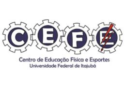 Logo do CEFE onde cada letra está escrito dentro de uma engrenagem